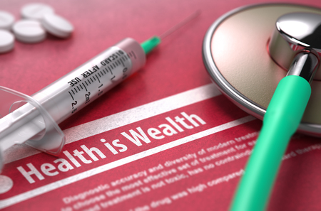 sumptuous: Health is Wealth - Medical Concept with Blurred Text, Stethoscope, Pills and Syringe on Red Background. Selective Focus. Stock Photo