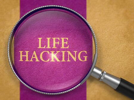 mnemonic: Life Hacking through Lens on Old Paper with Dark Lilac Vertical Line Background.