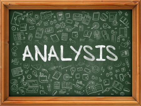 green chalkboard: Analysis - Hand Drawn on Green Chalkboard with Doodle Icons Around. Modern Illustration with Doodle Design Style. Stock Photo