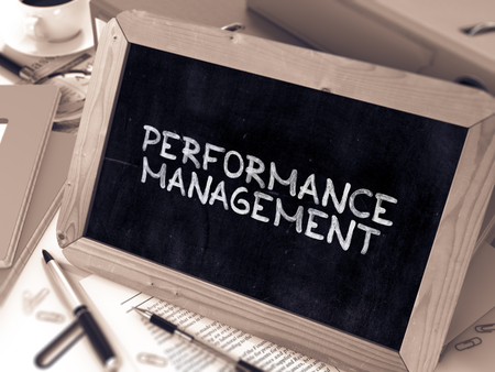 throughput: Performance Management Concept Hand Drawn on Chalkboard on Working Table Background. Blurred Background. Toned 3d Illustration.