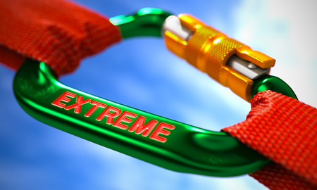 utmost: Green Carabiner between Red Ropes on Sky Background, Symbolizing the Extreme. Selective Focus. 3d Illustration.
