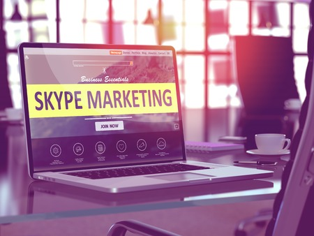 background skype: Skype Marketing Concept. Closeup Landing Page on Laptop Screen  on background of Comfortable Working Place in Modern Office. Blurred, Toned 3d Illustration.