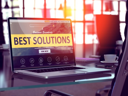 Best Solutions Concept Closeup on Laptop Screen in Modern Office Workplace. Toned 3d Illustration with Selective Focus.