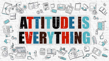 perceived: Attitude Is Everything - Multicolor Concept with Doodle Icons Around on White Brick Wall Background. Modern Illustration with Elements of Doodle Design Style.
