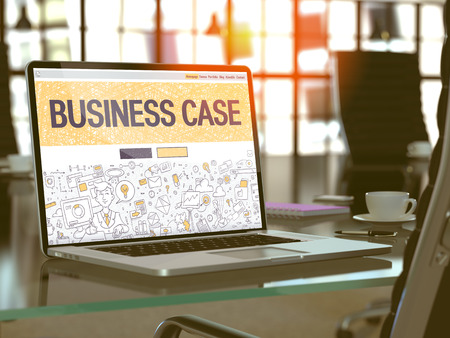 business case: Modern Workplace with Laptop showing Landing Page in Doodle Design Style with text Business Case. Toned Image with Selective Focus.