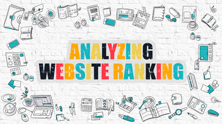 targetting: Multicolor Concept - Analyzing Website Ranking - on White Brick Wall with Doodle Icons Around. Modern Illustration with Doodle Design Style. Stock Photo