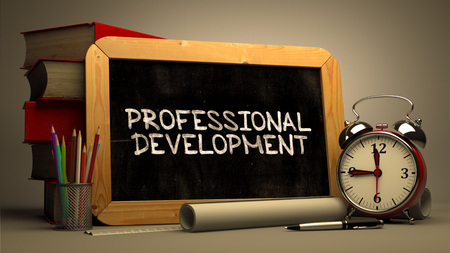 Hand Drawn Professional Development Concept on Chalkboard. Blurred Background. Toned Image.