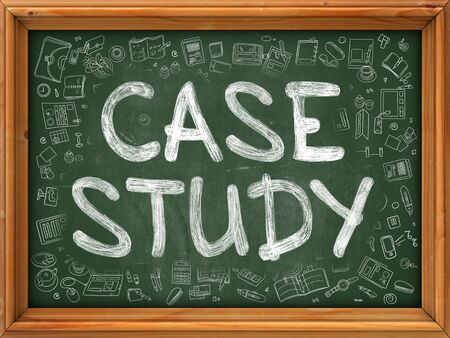 case study: Case Study - Hand Drawn on Green Chalkboard with Doodle Icons Around. Modern Illustration with Doodle Design Style.
