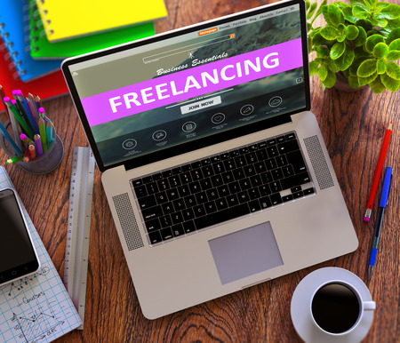 freelancing: Freelancing on Laptop Screen. Distance Working Concept.