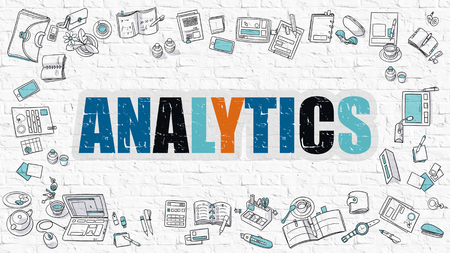 reasoning: Multicolor Concept - Analytics - on White Brick Wall with Doodle Icons Around. Modern Illustration with Doodle Design Style. Stock Photo