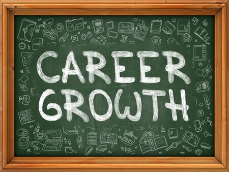 career job: Career Growth Concept. Line Style Illustration. Career Growth Handwritten on Green Chalkboard with Doodle Icons Around. Doodle Design Style of  Career Growth.