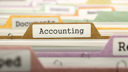 stocktaking: Accounting - Folder Register Name in Directory. Colored, Blurred Image. Closeup View. 3d Render. Stock Photo