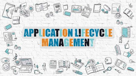 lifecycle: Application Lifecycle Management Concept. Application Lifecycle Management Drawn on White Brick Wall. Application Lifecycle Management in Multicolor. Doodle Design. Line Style Illustration.