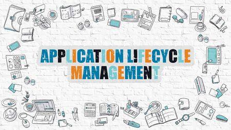 modernization: Application Lifecycle Management Concept. Application Lifecycle Management Drawn on White Brick Wall. Application Lifecycle Management in Multicolor. Doodle Design. Line Style Illustration.