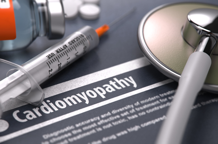 tachycardia: Cardiomyopathy - Printed Diagnosis on Grey Background with Blurred Text and Composition of Pills, Syringe and Stethoscope. Medical Concept. Selective Focus. 3d Render. Stock Photo