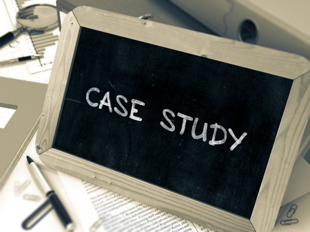 factual: Hand Drawn Case Study Concept  on Chalkboard. Blurred Background. Toned Image. 3d Render. Stock Photo