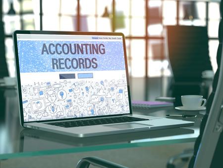 registros contables: Los registros de contabilidad Concepto - Primer en la página de destino de la pantalla de ordenador portátil en la oficina moderna del lugar de trabajo. Imagen virada con enfoque selectivo. 3d.