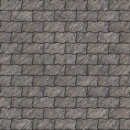 scuffed: Gray Scuffed Paving Slabs as Wavy Parallelograms. Seamless Tileable Texture. Stock Photo
