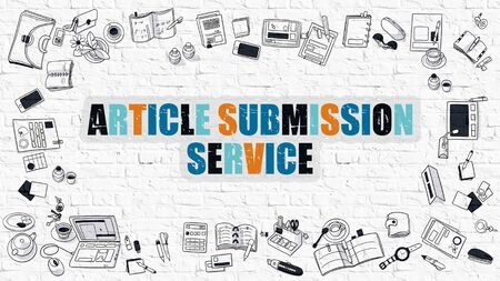 article: Article Submission Service Drawn on White Brick Wall  in Multicolor with Frame of Doodle Design Icons. Modern Line Style Illustration. Stock Photo