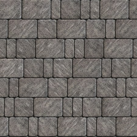 scuffed: Gray Scuffed Concrete Pavement Laid as Squares and Rectangles. Seamless Tileable Texture.