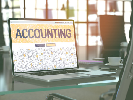 stocktaking: Accounting Concept Closeup on Landing Page of Laptop Screen in Modern Office Workplace. Toned Image with Selective Focus. 3d Render.