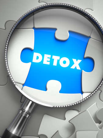 missing piece: Detox - Puzzle with Missing Piece through Loupe. 3d Illustration with Selective Focus. 3d Render.