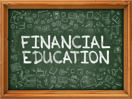credit risk: Financial Education - Hand Drawn on Chalkboard. Financial Education with Doodle Icons Around.