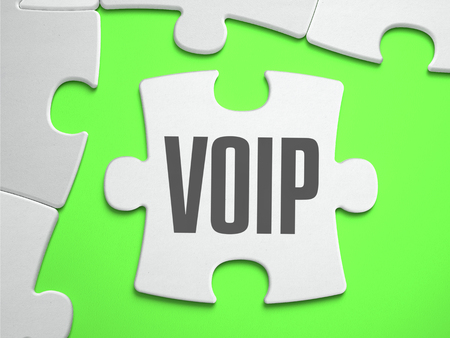 mobile voip: VoIP - Voice over Internet Protocol - Jigsaw Puzzle with Missing Pieces. Bright Green Background. Closeup. 3d Illustration.
