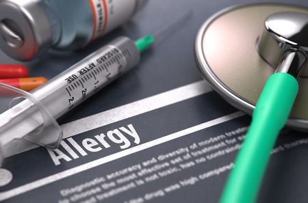 immunotherapy: Diagnosis - Allergy. Medical Concept with Blurred Text, Stethoscope, Pills and Syringe on Grey Background. Selective Focus. 3d Render. Stock Photo