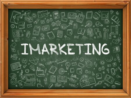 monetizing: Imarketing - Hand Drawn on Green Chalkboard with Doodle Icons Around. Modern Illustration with Doodle Design Style.