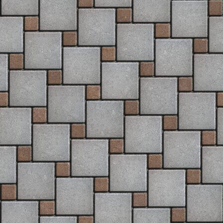 laid: Gray and Brown Paving Slabs Laid Alternately Large and Small Squares. Seamless Tileable Texture.