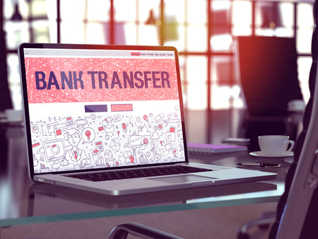 bank transfer: Bank Transfer Concept - Closeup on Landing Page of Laptop Screen in Modern Office Workplace. Toned Image with Selective Focus. 3d Render.