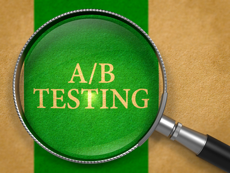 randomized: AB Testing through Lens on Old Paper with Green Vertical Line Background. 3d Render. Stock Photo