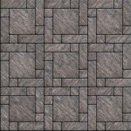 scuffed: Gray Scuffed Pavement in the form of big Square and Small Rectangles Around. Seamless Tileable Texture. Stock Photo