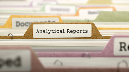 analytical: Analytical Reports - Folder Register Name in Directory. Colored, Blurred Image. Closeup View. 3d Render.