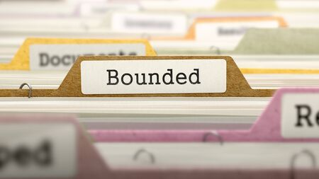 bounded: Bounded - Folder Register Name in Directory. Colored, Blurred Image. Closeup View. 3d Render. Stock Photo
