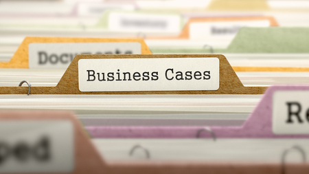 contender: File Folder Labeled as Business Cases in Multicolor Archive. Closeup View. Blurred Image. 3d Render. Stock Photo