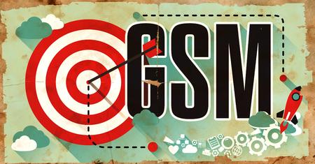 mobile communication: GSM - Global System for Mobile Communications - Drawn on Old Poster. Communication Concept in Flat Design.