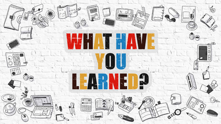 erudite: What Have You Learned. Multicolor Question on White Brick Wall with Doodle Icons Around. Modern Style Illustration with Doodle Design Elements. What Have You Learned on White Brickwall Background.
