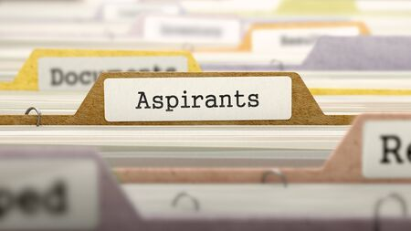 File Folder Labeled as Aspirants in Multicolor Archive. Closeup View. Blurred Image. 3d Render. Stock Photo