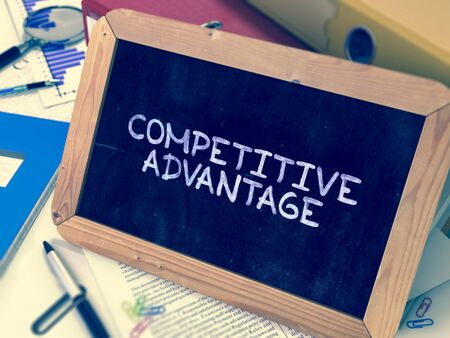 adversary: Hand Drawn Competitive Advantage Concept  on Chalkboard. Blurred Background. Toned 3d Image. Stock Photo