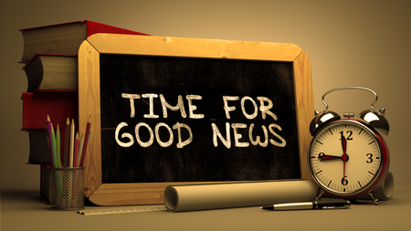 Time for Good News - Chalkboard with Hand Drawn Text, Stack of Books, Alarm Clock and Rolls of Paper on Blurred Background. Toned 3d Image. Archivio Fotografico