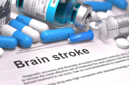 hemorragia: Brain Stroke - Impreso Diagn�stico con borrosa texto. En el fondo de Medicamentos Composici�n - Blue pastillas, inyecciones y jeringuilla. 3d. Foto de archivo