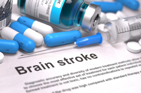 brain disease: Brain Stroke - Printed Diagnosis with Blurred Text. On Background of Medicaments Composition - Blue Pills, Injections and Syringe. 3d Render.