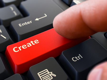 originative: Finger Presses Red Button  Create on Black Keyboard Background. Closeup View. Selective Focus. 3d Render. Stock Photo