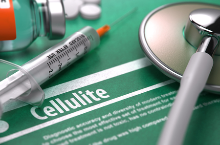 terribly: Cellulite - Medical Concept with Blurred Text, Stethoscope, Pills and Syringe on Green Background. Selective Focus. 3d Render.