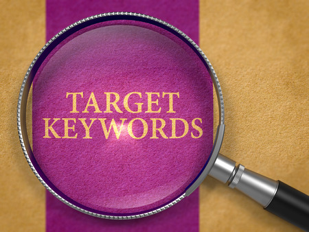Target Keywords through Magnifying Glass on Old Paper with Dark Lilac Vertical Line Background. 3d Render.