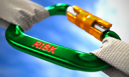 peril: Green Carabine with White Ropes on Sky Background, Symbolizing the Risk. Selective Focus. 3d Render.