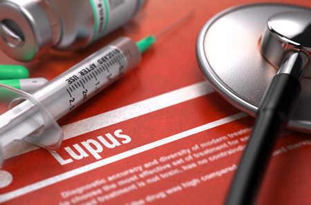 erythematosus: Diagnosis - Lupus. Medical Concept on Orange Background with Blurred Text and Composition of Pills, Syringe and Stethoscope. Selective Focus. 3d Render.
