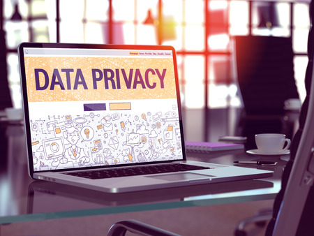Data Privacy Concept - Closeup on Landing Page of Laptop Screen in Modern Office Workplace. Toned Image with Selective Focus.